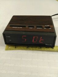 Westclox 22690 Very Small Retro Wood Grain Led Alarm Clock