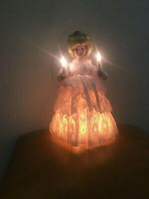 "Vintage 10 Light 9"" Porcelain Head & Hands Angel Christmas Tree Topper Mint"