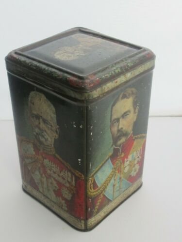 ANTIQUE CIRCA 1901 BOER WAR GENERALS LORD ROBERTS LORD KITCHENER TEA CADDY TIN