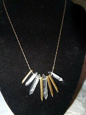 Vintage Stella & Dot Gold Metal & Clear Plastic Necklace Gold Plastic Necklace