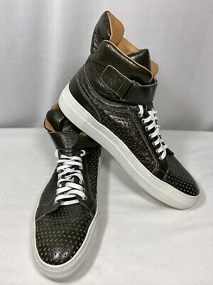 Armando Cabral Mercer Green Leather Perforated High Top Sneaker Men Size 13 $545