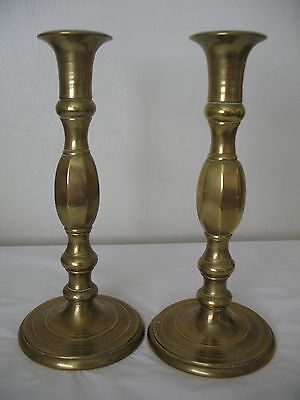 Vtg Brass Candlestick Candle Holders 9.5 Inch Set Of 2