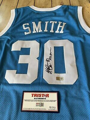 Kenny Smith Autographed/Signed Jersey TRISTAR  North Carolina Tarheels The Jet