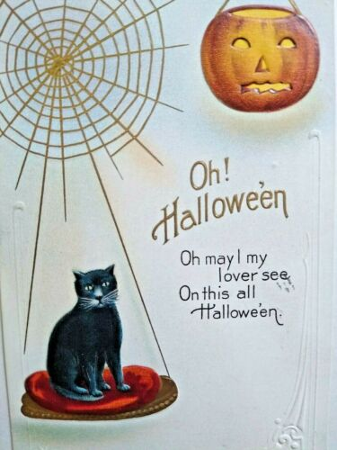 Vintage Halloween Postcard Nash Series H 18 Black Cat Duluth MI 1915 Embossed