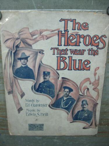 Antique Vintage Sheet Music The Heros That Wear Blue Unique Artwork