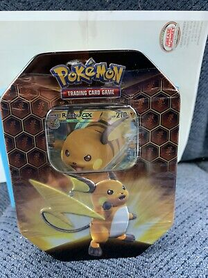 Pokemon Hidden Fates GX Tin-Raichu Card & 4 Booster Pack Sealed.*Brand New*