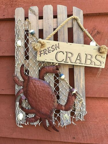 Nautical FRESH CRABS Fishing Marine WEATHERED Wood Sign Lake Cottage Beach