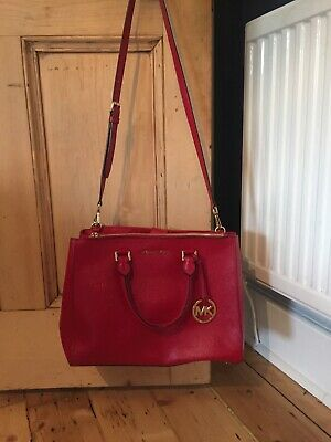 MICHAEL KORS *SUTTON* Red SAFFIANO LEATHER SATCHEL HAND BAG RRP£325