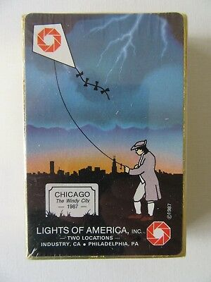 VTG 1987 Chicago Windy City Lights of America Playing Cards Souvenir Game Deck