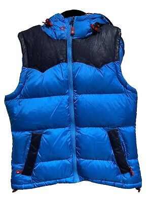Women's Perfect Moment Blue Ski Vest Small Goose Down Lamb Skin Luxury
