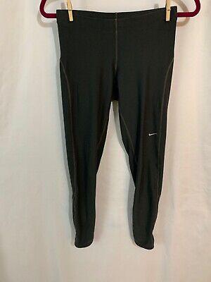 NIKE DRI-FIT Nightfall darkness Gray Activewear Leggings - Zip Ankle & Back waist Zip Pocket M
