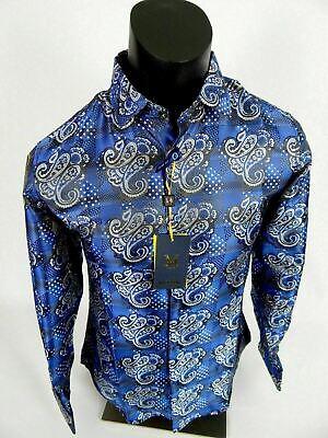 Mens Manzini Button Dress Shirt Royal Blue Paisley Jacquard French Cuff -