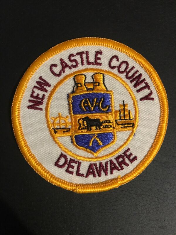 """NEW CASTLE COUNTY DELAWARE Wheel & Sailing Ship Crest Logo 3"""" Patch"""
