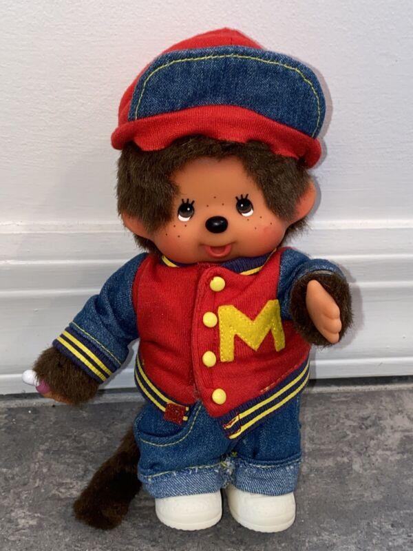 Monchhichi Monchichi Plush Doll Vintage Toy Blue Jeans Jacket Hat Pants Outfit