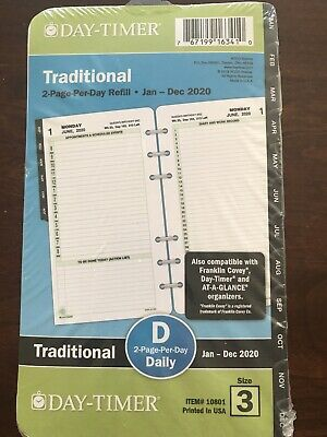 Day-timer 2-page-per-day Refill Portable Size Item 10801 Traditional Size 3