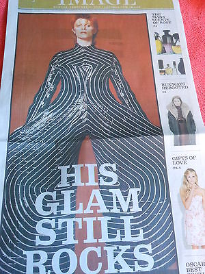 David Bowie Glam Still Rocks Image Section Of La Times Newspaper February 2013