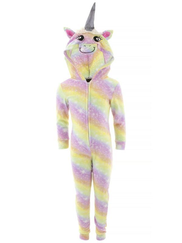 Sweet N Sassy Girls Unicorn Purple Fleece Hooded Long Sleeved One-Piece Pajamas