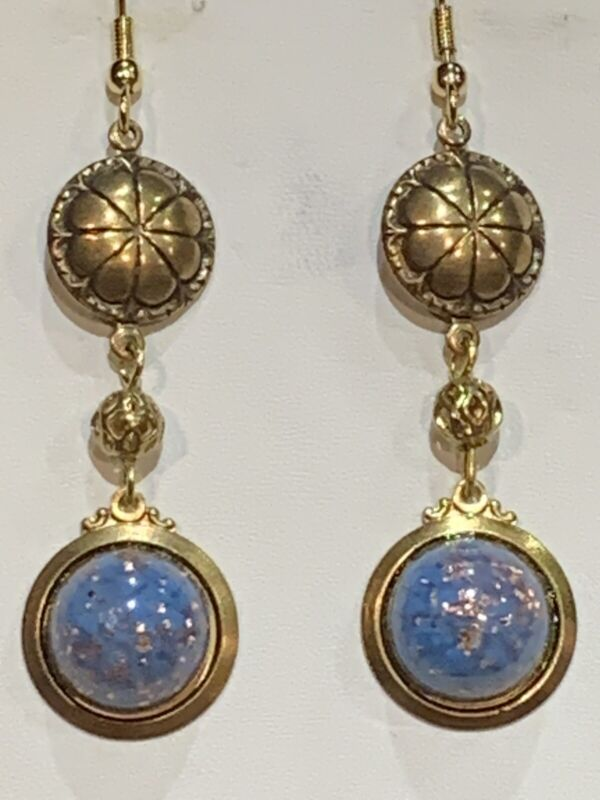 *HOLIDAY SALE* HAND-CRAFTED ANTIQUE CZECH BOHEMIAN ART GLASS DROP EARRINGS-NEW