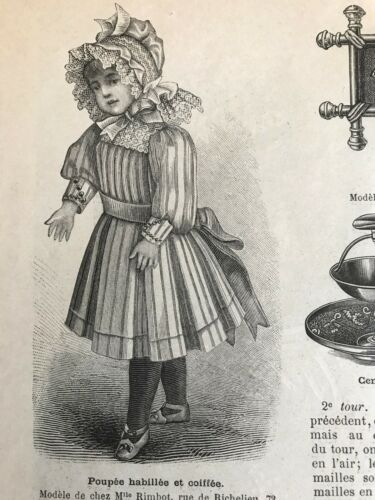 French MODE ILLUSTREE SEWING PATTERN Nov 1,1891 EVENING DRESS, DOLL DRESSES
