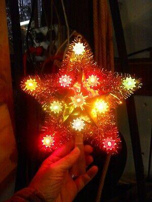 Vintage Christmas Gold Star Lighted Tree Topper Noel Maker Japan OB