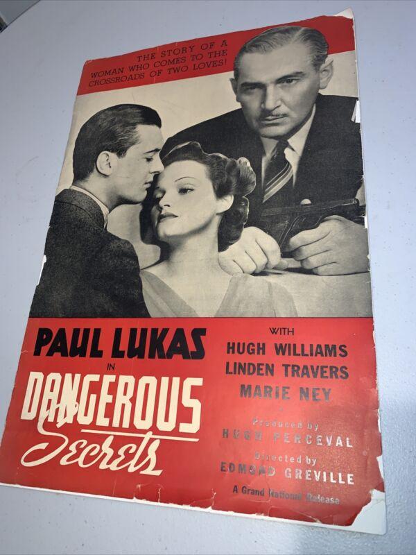 Dangerous Secrets Vintage Movie Press Kit with Paul Lukas 1938