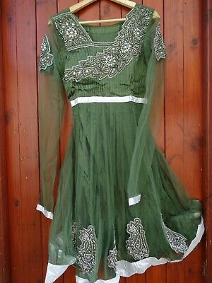 INDIAN PARTY WEDDING STITCHED DRESS PAJAMI FROK SUIT BEADS THREAD WORK GREEN