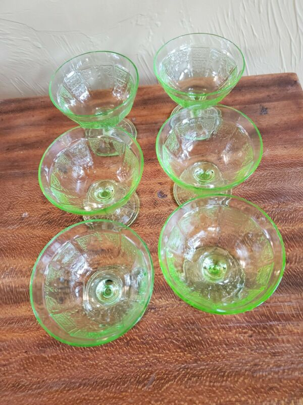 6 Sherbert Green Depression Glass Princess Pattern