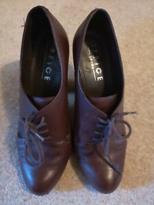 Office dark brown leather heeled brogue shoes lace up size 41/8