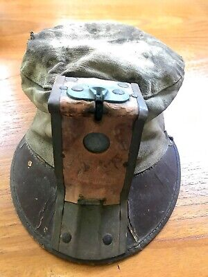 Vintage Coal Miners Hat Cloth Canvas With Leather Carbide Lamp Holder Coal King