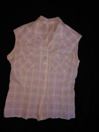 Vintage Western Snap Shirt Pink Plaid Ladies Size Small