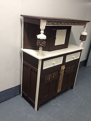 Painted Carved Oak Buffet Backed Sideboard  Cupboard Display Cabinet