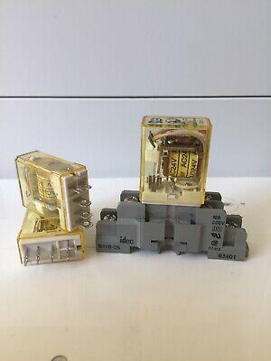 Lot Of 3-idec-rh1b-l 24vac Cube Relay Used.  Relay Socket One - Free