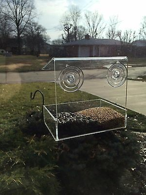 Clear Acrylic Window Mount Bird Feeder, See Thru Window Mount Bird Feeder