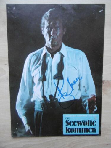 "Roger Moore Autogramm signed A4 Kinoaushangbild ""Die Seewölfe kommen"""