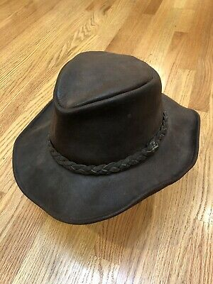 Vintage HENSCHEL HAT CO Brown Leather Cowboy Western Cap Safari Made in USA Vtg