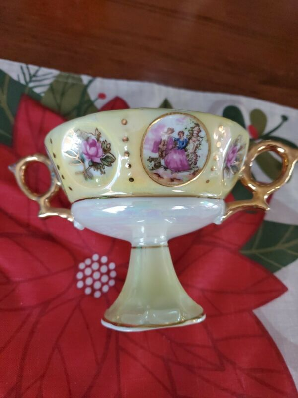 Yellow Pedestal Cup With Double Handles Gold Iridescent French Scene And Roses