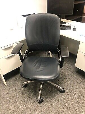 Steelcase Leap V2 Office Chair - Black Leather W Chrome Frame