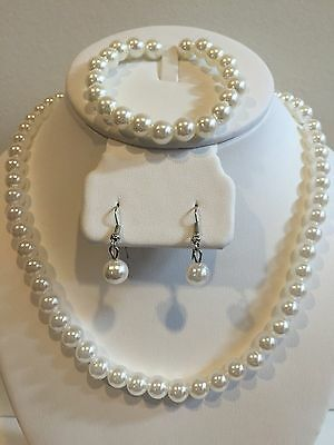 Girls Necklace And Earring Set (Faux Pearl Necklace Bracelet and Earring Set White Wedding Bridesmaid Women)