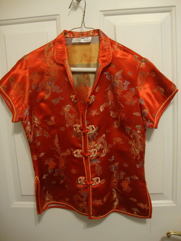 Girls Small Red Silk Jacket  Embroidered Great Condition China Jin Yue Fu Shi