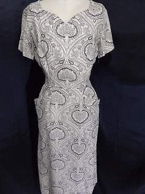 Vintage 1940s-50s Kleid ~ Elfenbein / Schwarz Mantel Paisley Strass Perlen 36b Paisley Vintage Mantel