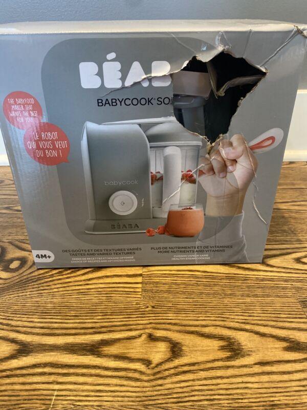 BEABA Babycook Solo Baby Food Maker, Steamer/Cooker/Blender, Grey - NEW