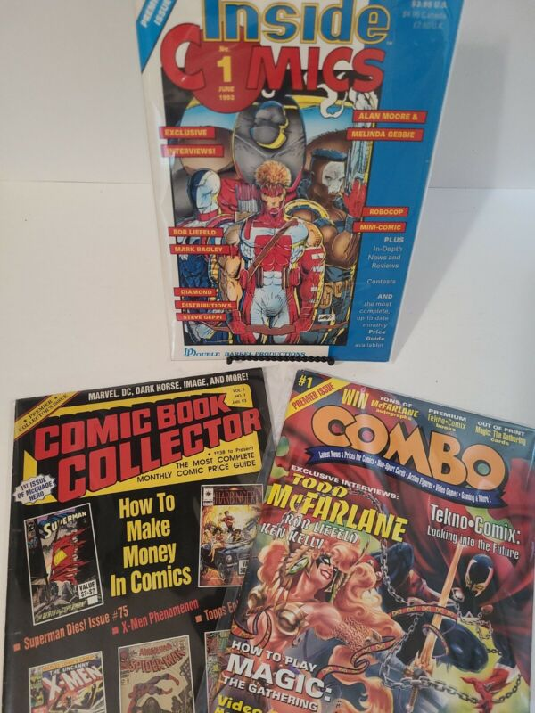 3 Comic Price Guide Premier Issues - Comic Book Collector, Combo, Inside Comics