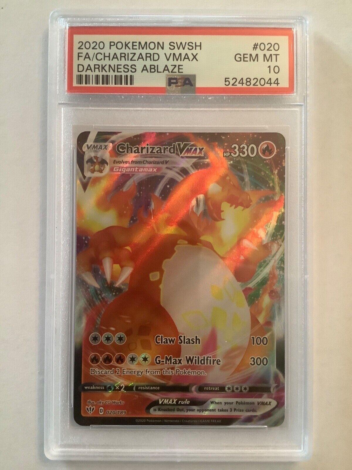 PSA 10 Pokemon 2020 Darkness Ablaze Holo Rare Full Art Charizard VMAX 020/189 20 - $349.99