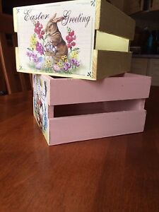 Two small wooden crates with Easter appliqués