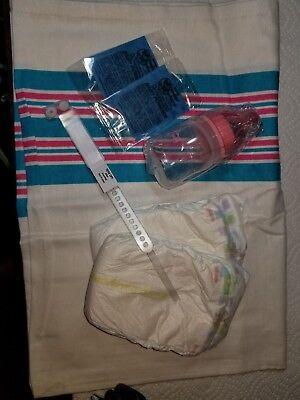 Reborn baby girl hospital starter kit, bottle, blanket, bracelet, diapers, wafer for sale  Shipping to India
