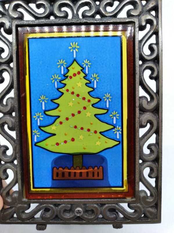 Vintage Stained Glass Candle Holder Christmas Tree Ornate Votive Country Church