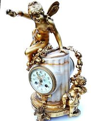 ANTIQUE FRENCH ONYX MARBLE MANTEL CLOCK WITH CHERUBS GILT BRONZE 8 DAY 19TH C