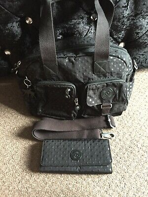 kipling defea  across the body/handbag Black Dot and matching purse