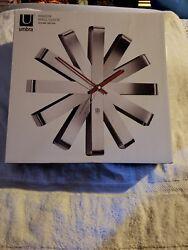 Umbra Ribbon Modern 12-inch Wall Clock, Battery Operated Quartz Movement, Silent