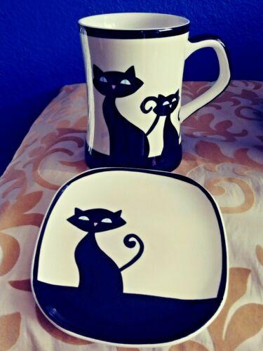 Hues N Brews Black/ White  Cats Coffee Mug & Saucer. Adorable!